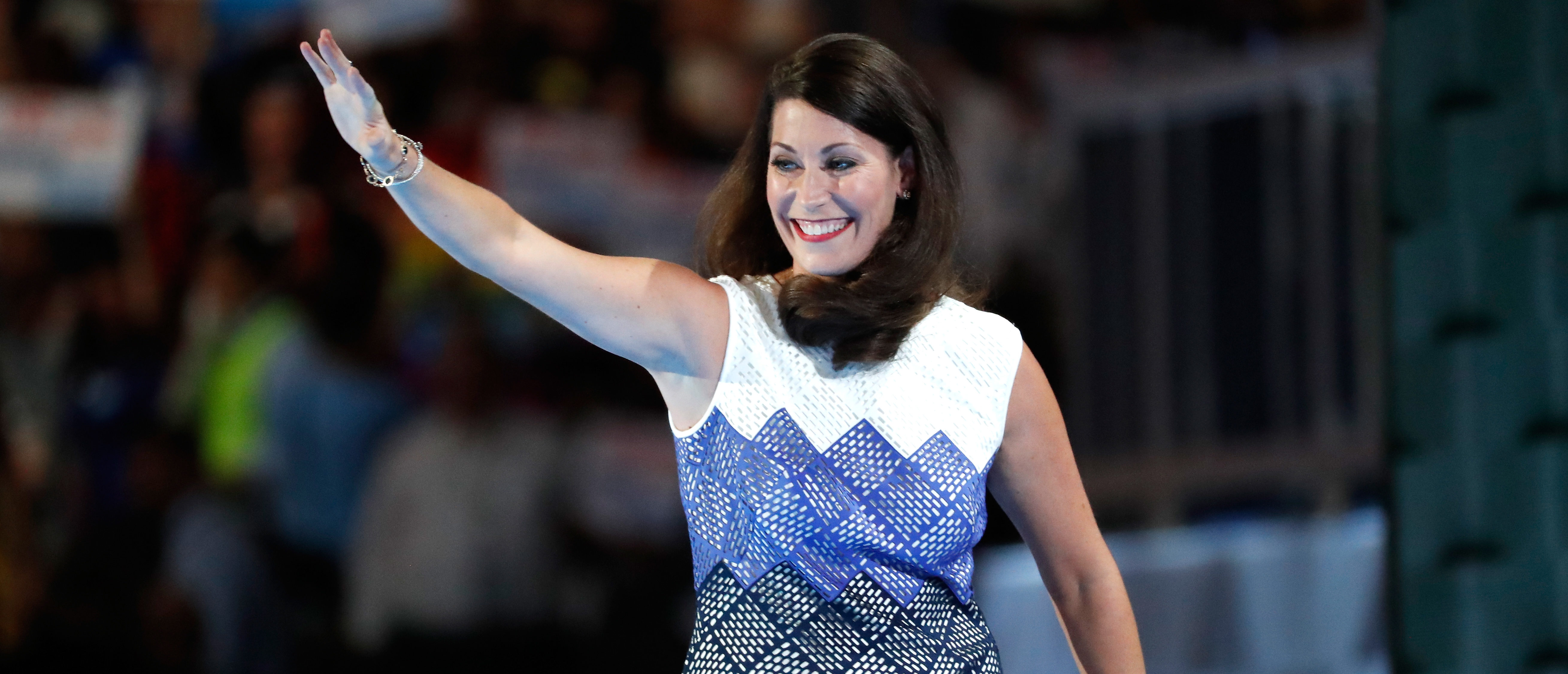 PHILADELPHIA, PA - JULY 26: Kentucky Secretary of State Alison Lundergan Grimes waves to the crowd on the second day of the Democratic National Convention at the Wells Fargo Center, July 26, 2016 in Philadelphia, Pennsylvania. An estimated 50,000 people are expected in Philadelphia, including hundreds of protesters and members of the media. The four-day Democratic National Convention kicked off July 25. (Photo by Aaron P. Bernstein/Getty Images)