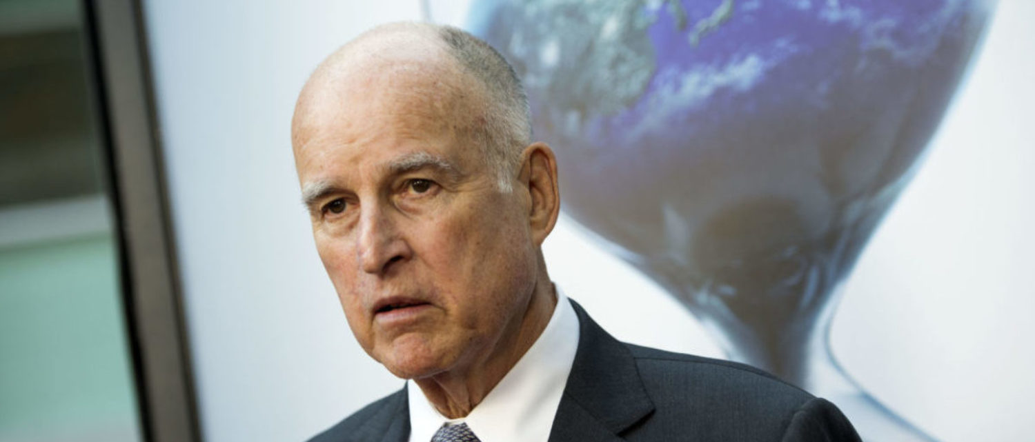 "Governor of California Jerry Brown the Los Angeles Special Screening of ""An Inconvenient Sequel: Truth to Power"" at the Arclight Hollywood, on July 25, 2017, in Hollywood, California. / AFP PHOTO / VALERIE MACON (Photo credit should read VALERIE MACON/AFP/Getty Images)"