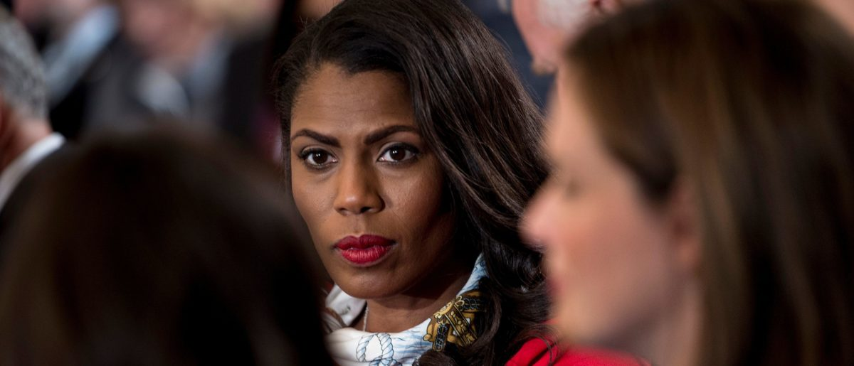 Omarosa Manigault, White House Director of Communications for the Office of Public Liaison, waits to hear the US President speak on combatting drug demand and the opioid crisis on October 26, 2017 in the East Room of the White House in Washington, DC. BRENDAN SMIALOWSKI/AFP/Getty Images