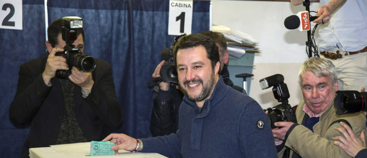 MILAN, ITALY - MARCH 04: Leader of Lega Nord party Matteo Salvini votes in the Italian General Election at a polling station on March 4, 2018 in Milan, Italy. The economy and immigration are key factors in the 2018 Italian General Election after parliament was dissolved in December 2017. Campaigning on the right are Silvio Berlusconi of Forza Italia teaming up with Matteo Salvini of the Eurosceptic Lega. While on the centre-left is Mario Renzi, leader of the Democratic Party. Challenging both camps is the leader of the Five Star Movement, Luigi Di Maio. (Photo by Pier Marco Tacca/Getty Images)
