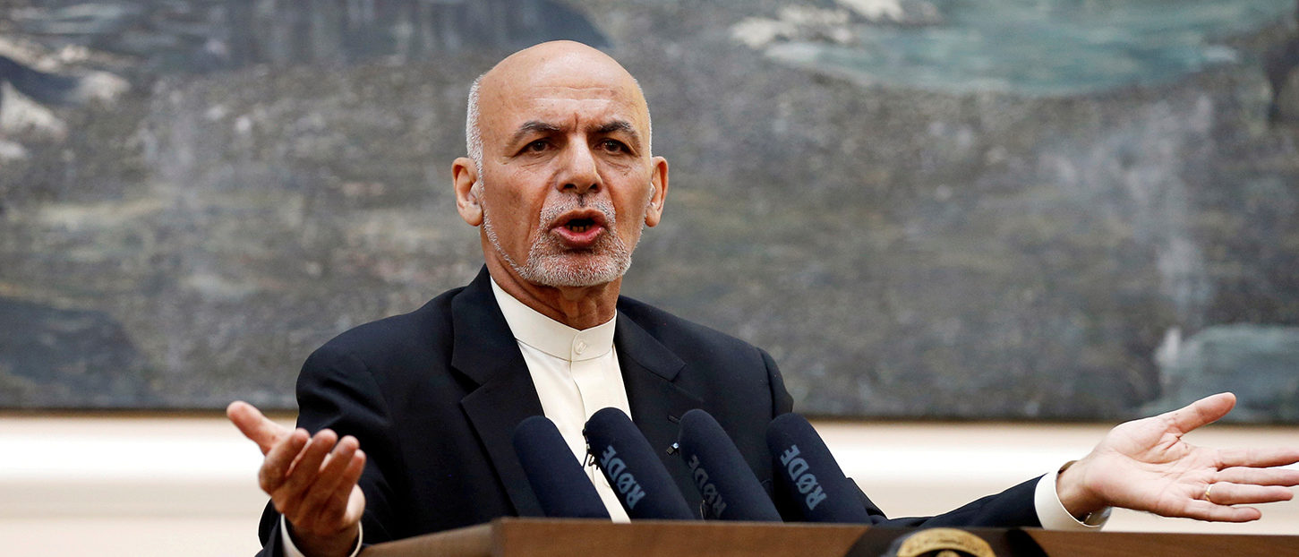 Afghan President Ashraf Ghani speaks during a news conference in Kabul, Afghanistan July 15, 2018. REUTERS/Mohammad Ismail/File Photo