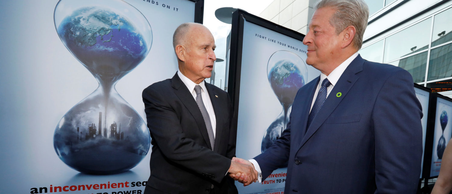 "Former U.S. Vice President Al Gore (R) and California Governor Jerry Brown attend a screening for ""An Inconvenient Sequel: Truth to Power"" in Los Angeles, California, U.S., July 25, 2017. REUTERS/Mario Anzuoni"