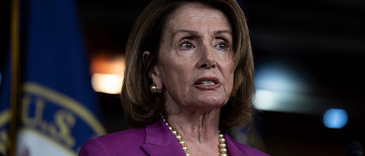 WASHINGTON, DC - JUNE 13: House Minority Leader Nancy Pelosi, (D-CA) speaks during a news conference held by House Democrats condemning the Trump Administration's targeting of the Affordable Care Act's pre-existing condition, in the US Capitol on June 13, 2018 in Washington, DC. (Photo by Toya Sarno Jordan/Getty Images)
