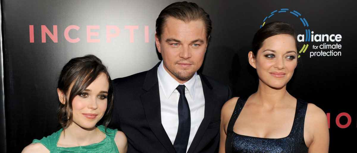 """LOS ANGELES, CA - JULY 13: Actress Ellen Page, actor Leonardo DiCaprio, and actress Marion Cotillard arrive to premiere of Warner Bros. """"Inception"""" at Grauman's Chinese Theatre on July 13, 2010 in Los Angeles, California. (Photo by Kevin Winter/Getty Images)"""