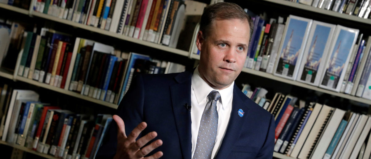 NASA Administrator Jim Bridenstine speaks during an interview with Reuters at NASA headquarters in Washington, U.S., August 21, 2018. Picture taken August 21, 2018. REUTERS/Yuri Gripas