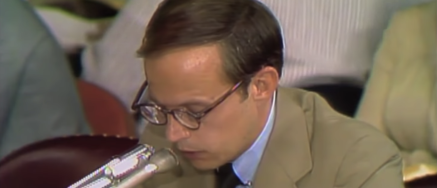 White House counsel John Dean testifies to the Watergate Committee. (YouTube screenshot/PBS Newshour)
