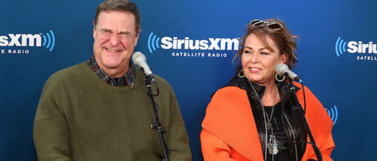 Actors John Goodman and Roseanne Barr speak during SiriusXM's Town Hall with the cast of Roseanne on March 27, 2018 in New York City. (Photo by Astrid Stawiarz/Getty Images for SiriusXM)