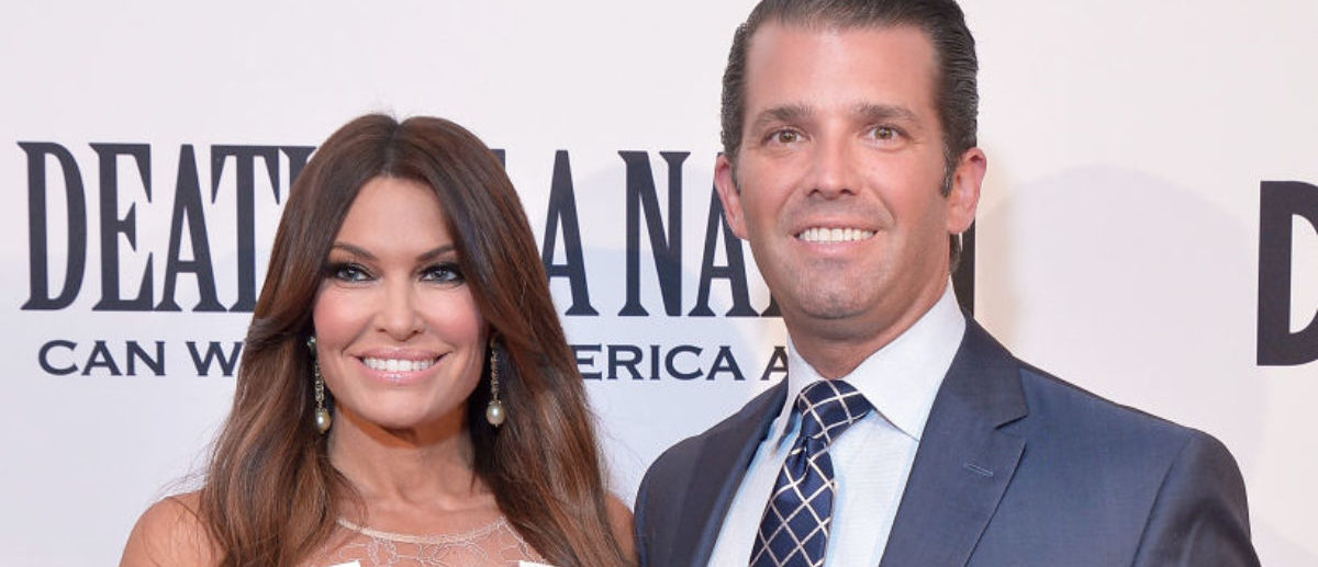 """WASHINGTON, DC - AUGUST 01: Donald Trump, Jr. and Kimberly Guilfoyle attend the DC premiere of the film, """"Death of a Nation,"""" at E Street Cinema on August 1, 2018 in Washington, DC. (Photo by Shannon Finney/Getty Images)"""