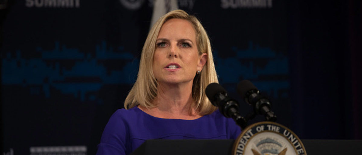 NEW YORK, NY - JULY 31: U.S. Department of Homeland Security Secretary Kirstjen Nielsen speaks during the Department of Homeland Security's Cybersecurity Summit on July 31, 2018 in New York City. (Photo by Kevin Hagen/Getty Images)