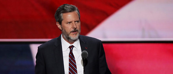CLEVELAND, OH - JULY 21: President of Liberty University, Jerry Falwell Jr., delivers a speech during the evening session on the fourth day of the Republican National Convention on July 21, 2016 at the Quicken Loans Arena in Cleveland, Ohio. Republican presidential candidate Donald Trump received the number of votes needed to secure the party's nomination. An estimated 50,000 people are expected in Cleveland, including hundreds of protesters and members of the media. The four-day Republican National Convention kicked off on July 18. (Photo by Alex Wong/Getty Images)