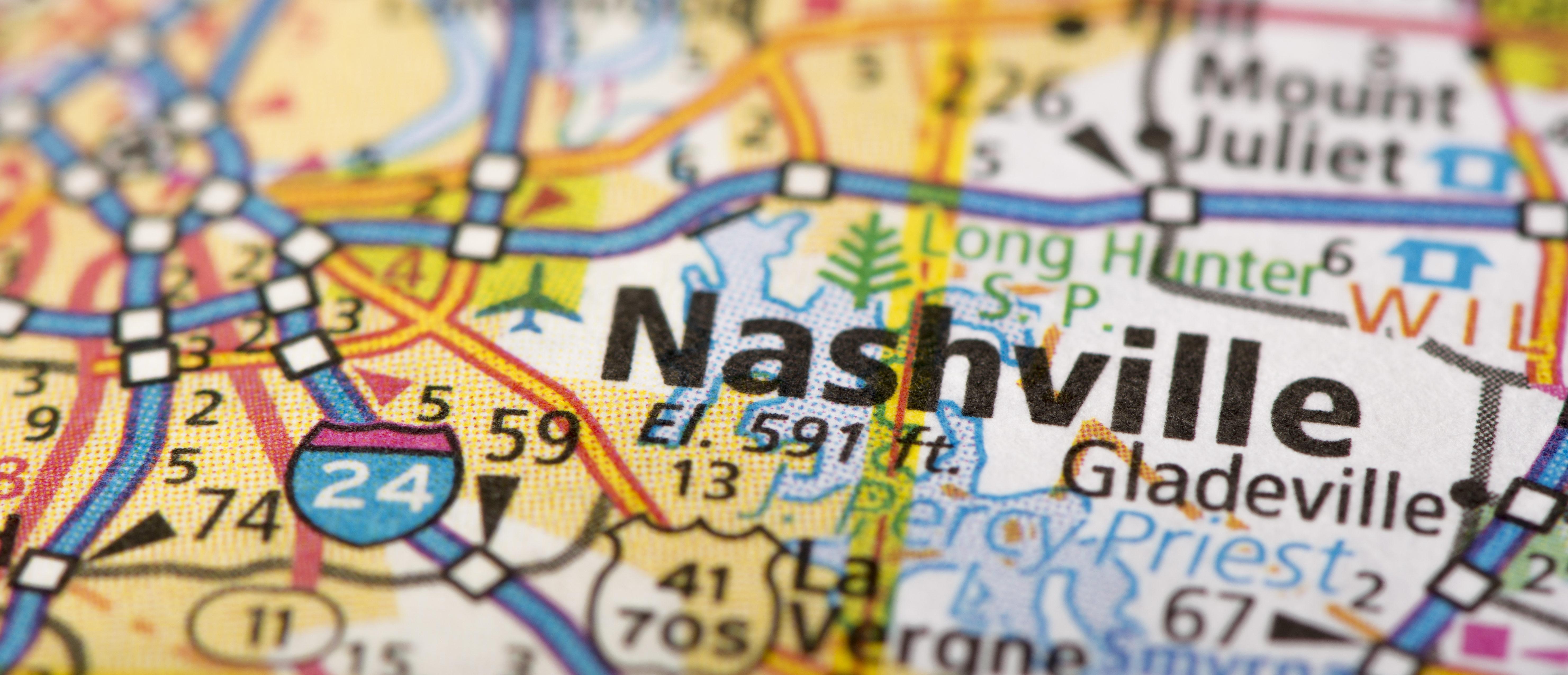 Map of Nashville (Shutterstock/Jason Kolenda)
