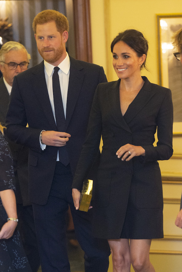 "Prince Harry, Duke of Sussex and Meghan, Duchess of Sussex attend a gala performance of ""Hamilton"" in support of Sentebale at Victoria Palace Theatre on August 29, 2018 in London, England. (Photo by Dan Charity - WPA Pool/Getty Images)"
