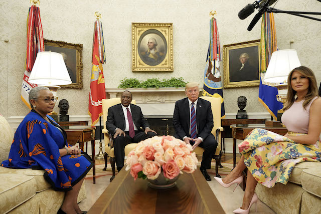 US President Donald Trump and First Lady Melania Trump welcome Kenyan President Uhuru Kenyatta (2ndL) and his wife, Margaret Kenyatta (L), to the White House in Washington, DC, August 27, 2018. (Photo credit: MANDEL NGAN/AFP/Getty Images)