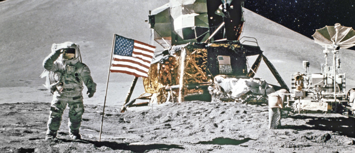 Astronaut on lunar (moon) landing mission. Elements of this image furnished by NASA [Shutterstock/Castleski]