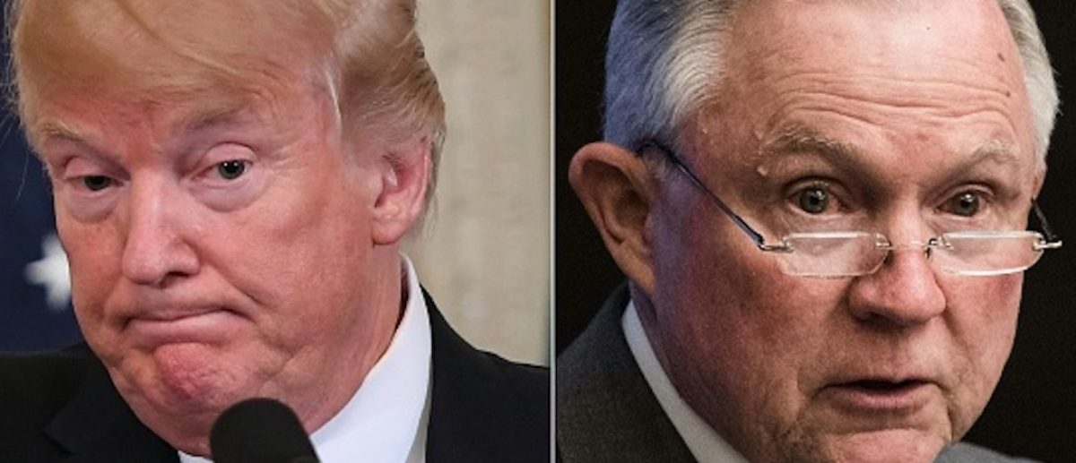 "COMBO) This combination of pictures created on August 1, 2018 shows US President Donald Trump(L)during a joint press conference in the East Room of the White House in Washington, DC, July 30, 2018, and US Attorney General Jeff Sessions addressing the National Sheriffs' Association opioid roundtable in Washington, DC, on May 3, 2018. - US President Donald Trump called August1, 2018 on Attorney General Jeff Sessions to end the investigation into Russia's interference in the 2016 US elections, calling it ""a disgrace to USA."" The president's latest tweet on the probe led by special counsel Robert Mueller came on the second day of a trial of former Trump campaign chairman Paul Manafort on unrelated bank and tax fraud charges.""This is a terrible situation and Attorney General Jeff Sessions should stop this Rigged Witch Hunt right now, before it continues to stain our country any further,"" Trump said, calling Mueller's probe ""a disgrace to USA."" (Photos by SAUL LOEB and NICHOLAS KAMM / AFP) (Photo credit should read SAUL LOEB,NICHOLAS KAMM/AFP/Getty Images)"