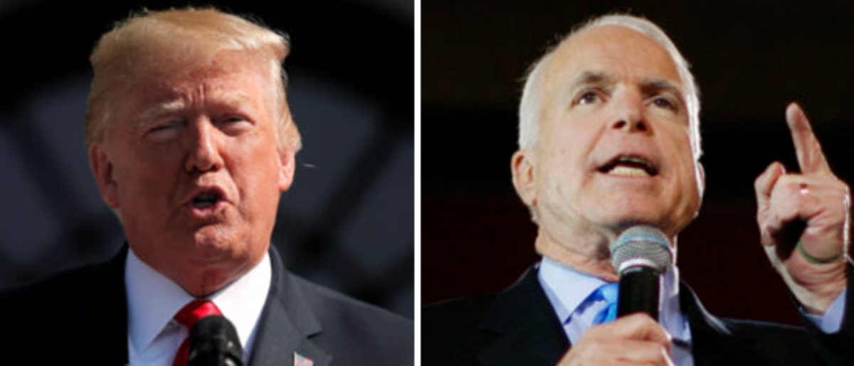 President Trump (left - via Shutterstock) and John McCain (left - via Reuters)