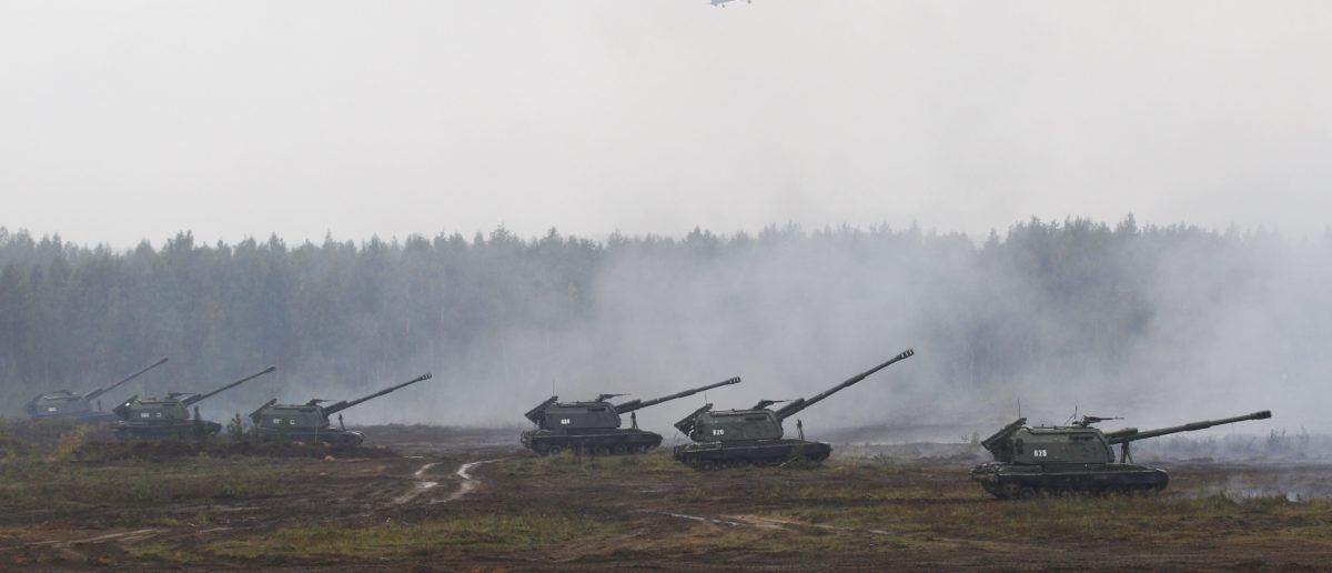 Armoured vehicles and helicopters take part in the Zapad 2017 war games at a range near the town of Borisov, Belarus September 20, 2017. REUTERS/Vasily Fedosenko