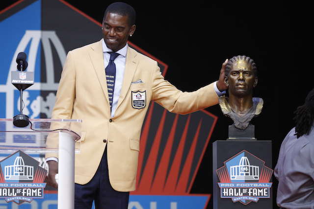 Randy Moss reacts during the 2018 NFL Hall of Fame Enshrinement Ceremony at Tom Benson Hall of Fame Stadium on August 4, 2018 in Canton, Ohio. (Photo by Joe Robbins/Getty Images)