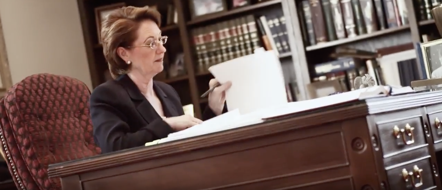 Justice Robin Jean Davis in a 2012 campaign commercial. (YouTube screenshot/RobinDavis2012)