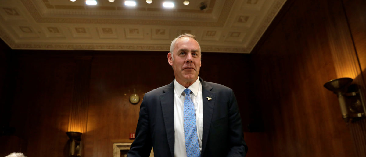 Interior Secretary Ryan Zinke before a Senate Appropriations Interior, Environment and Related Agencies Subcommittee hearing on the FY2019 funding request and budget justification for the Interior Department, on Capitol Hill in Washington, U.S., May 10, 2018. REUTERS/Yuri Gripas