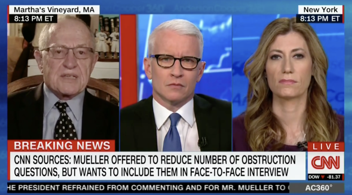 CNN's Anderson Cooper Asked Dershowitz To Correct Him On Mueller Investigation, And He Does More Than Just That