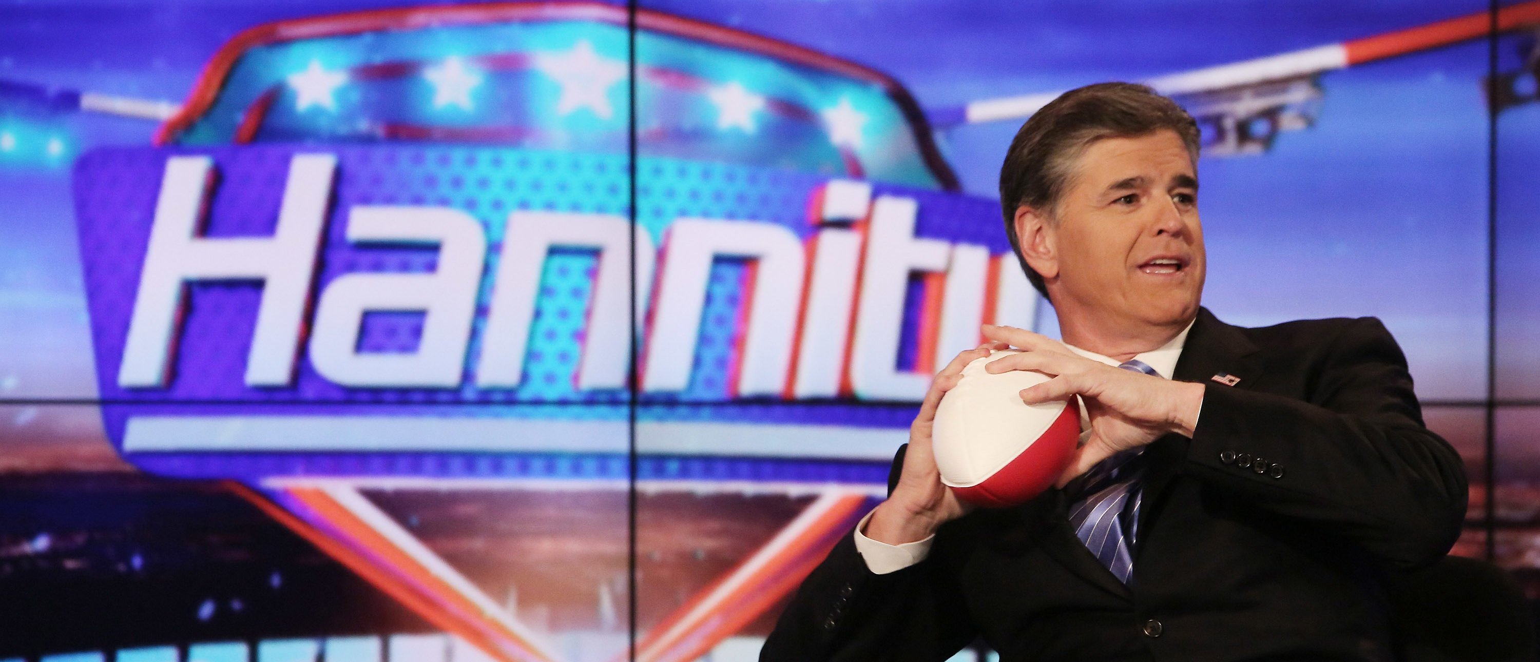 """Host Sean Hannity on set of FOX's """"Hannity With Sean Hannity"""" at FOX Studios on April 21, 2014 in New York City. (Photo by Paul Zimmerman/Getty Images)"""