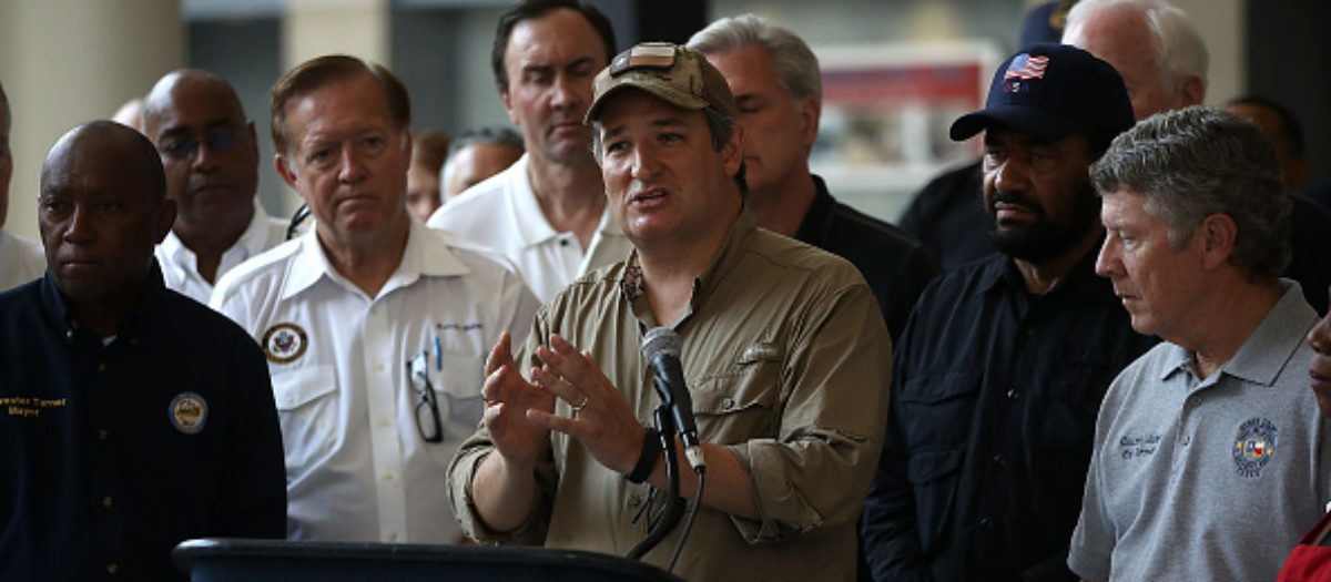 HOUSTON, TX - SEPTEMBER 04: U.S. Sen. Ted Cruz (R-TX) speaks during a press conference following a tour of the NRG Center evacuation center on September 4, 2017 in Houston, Texas. Over a week after Hurricane Harvey hit Southern Texas, residents are beginning the long process of recovering from the storm. (Photo by Justin Sullivan/Getty Images)