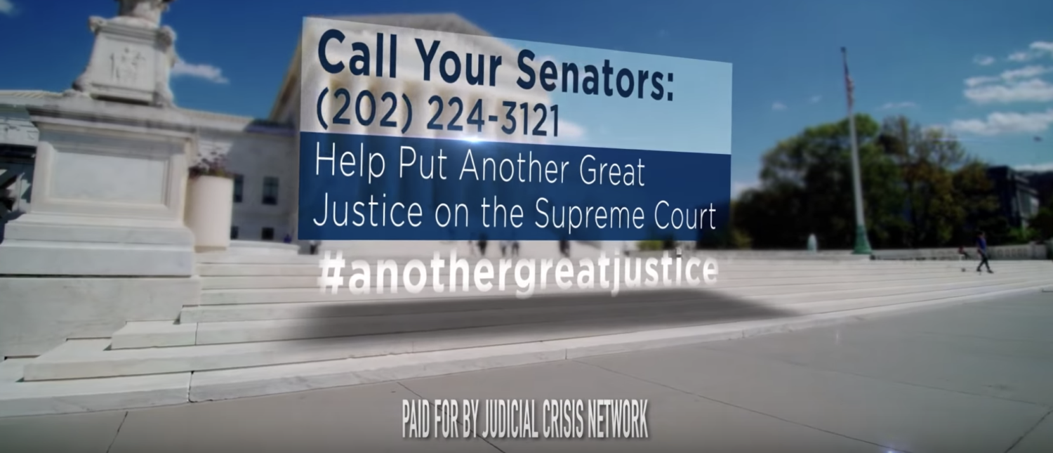 The conclusion of an ad supporting Judge Brett Kavanaugh's confirmation to the U.S. Supreme Court. (YouTube screenshot/Judicial Crisis Network)