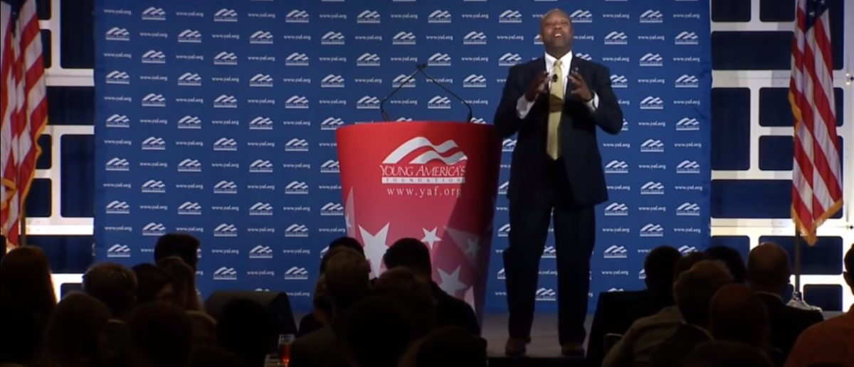 Tim Scott addressing students at Young Americans For Freedom National Conservative Student Conference. Youtube/Screenshot