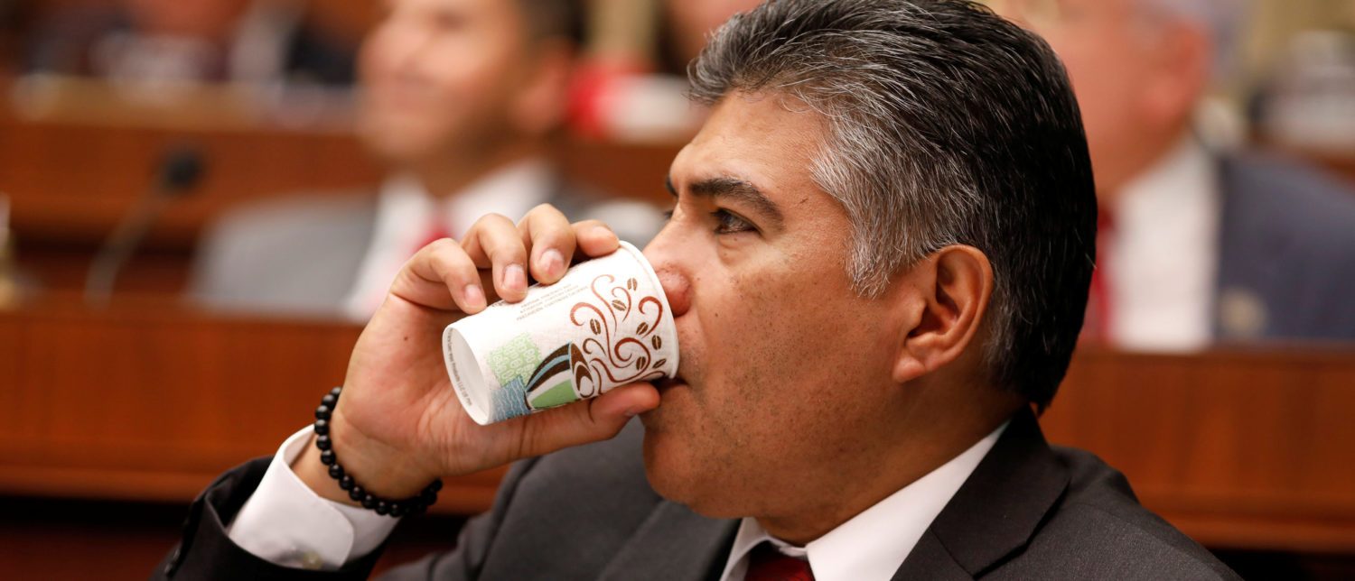 Rep. Tony Cardenas (D-CA) drinks coffee during a marathon House Energy and Commerce Committee hearing on a potential replacement for the Affordable Care Act on Capitol Hill in Washington March 9, 2017. REUTERS/Aaron P. Bernstein -