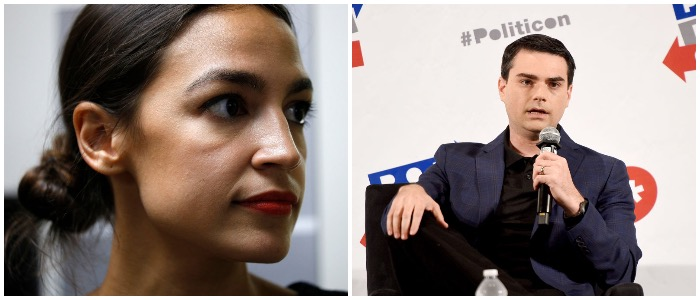 Shapiro challenged Ocasio-Cortez to a debate ((LEFT: Photo by Bill Pugliano/Getty Images, RIGHT: Photo by Joshua Blanchard/Getty Images for Politicon)