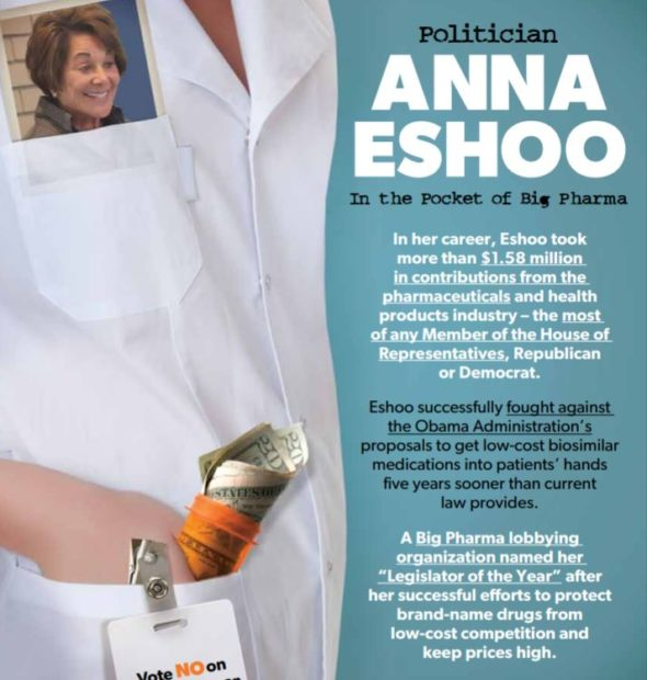 A screenshot of part of the mailer against Rep. Anna Eshoo funded by Patients For Affordable Drugs. Screenshot/P4AD