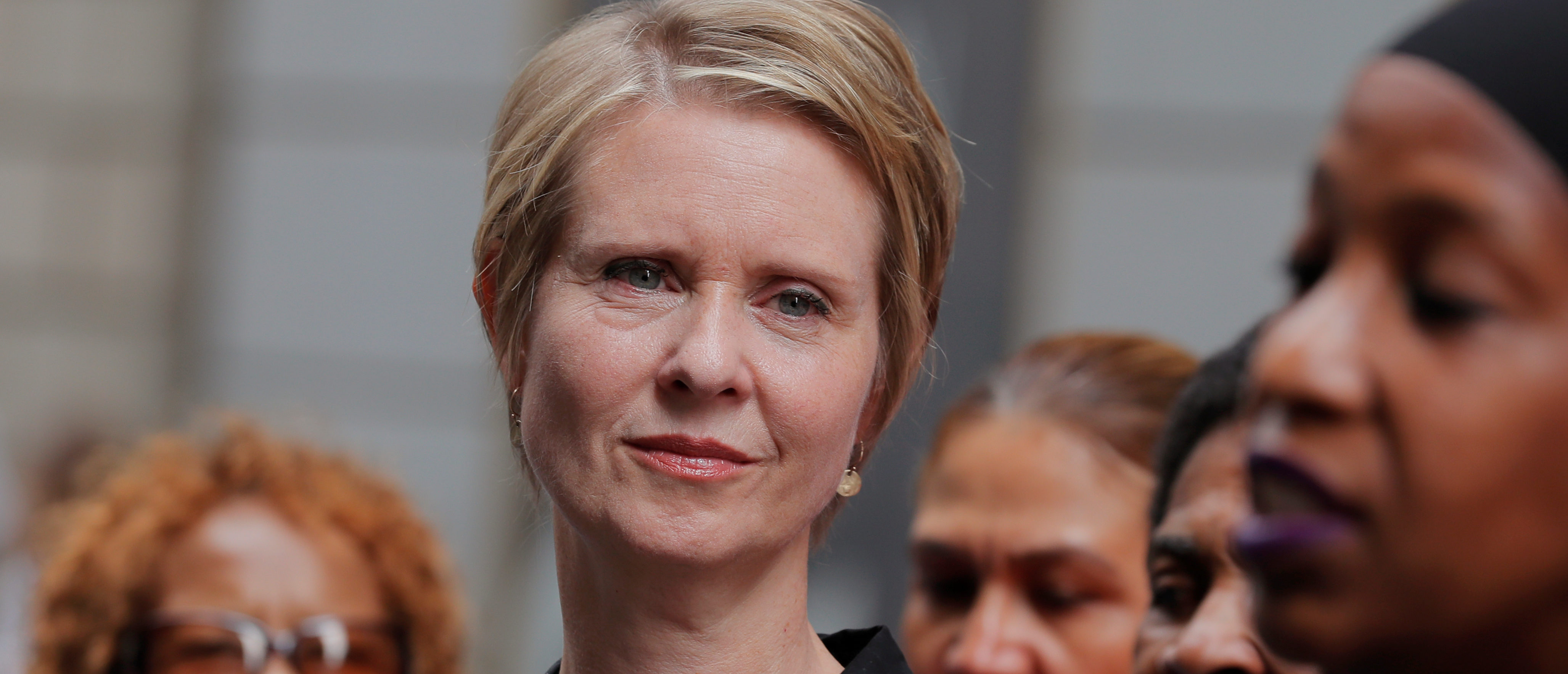 """Cynthia Nixon, former """"Sex and the City"""" star and current candidate for governor of New York, attends a campaign event on Wall St. in New York City, U.S., August 22, 2018. REUTERS/Brendan McDermid"""