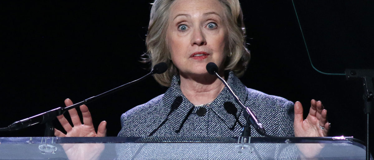 NEW YORK - March 10, 2015: Hillary Clinton speaks during the Step It Up For Gender Equality event at the Hammerstein Ballroom on March 10, 2015, in New York. (JStone/Shutterstock)