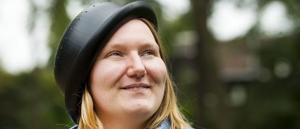 Netherlands' Mienke de Wilde, a member of the Church of the Flying Spaghetti Monster movement, poses with a colander on her head in Nijmegen on August 15, 2018. - De Wilde wants her picture in her ID to be with the colander, the Dutch State Council has determined that it isnt allowed. (Photo by Piroschka van de Wouw / ANP / AFP) / Netherlands OUT (Photo credit should read PIROSCHKA VAN DE WOUW/AFP/Getty Images)