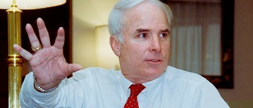 Photo taken on January 9, 1991 in Bangkok shows US Senator John McCain on his way to Vietnam and Cambodia. - MacCain, a former navy pilot who was shot down over Vietnam in 1967 and became a POW in Hanoi, is to meet leaders of both countries. c