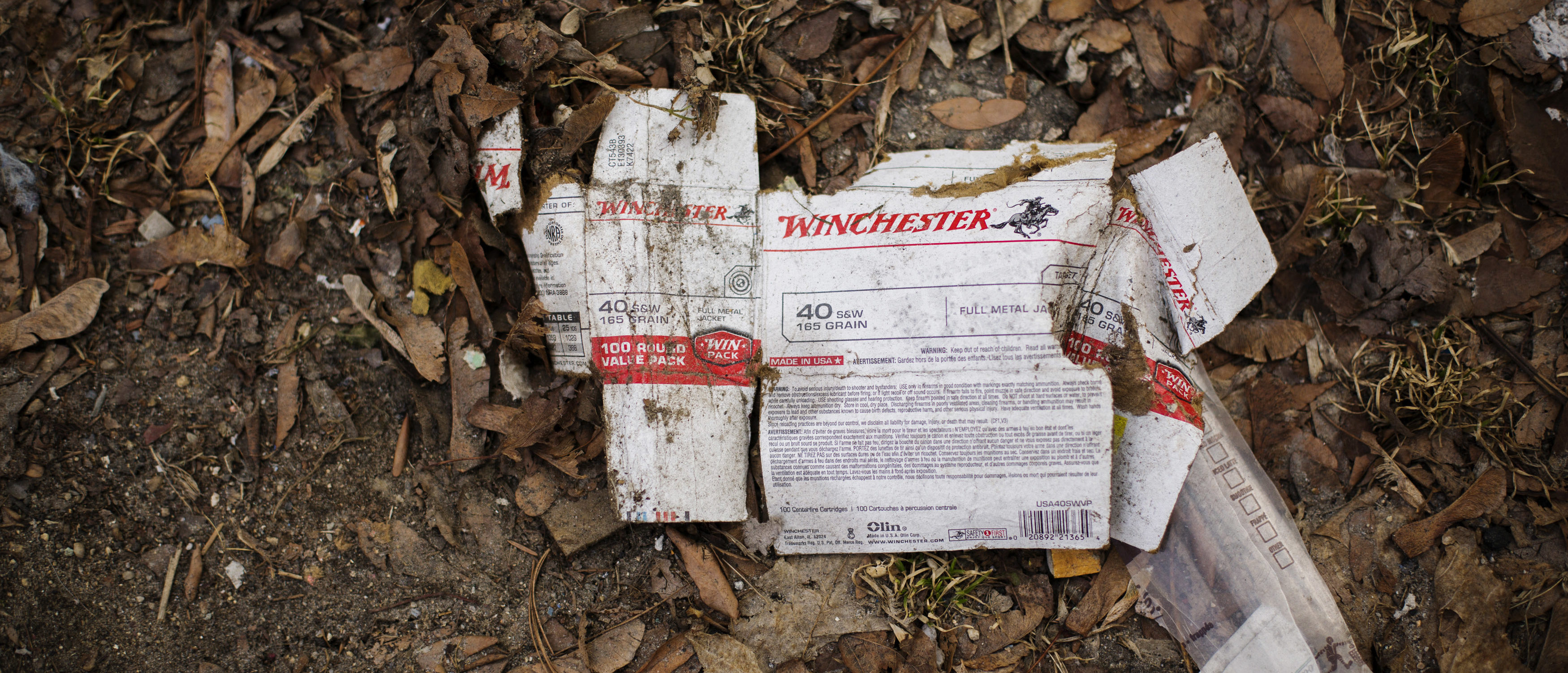 An empty box of .40 caliber bullets is seen on the ground in the Olneyville neighborhood of Providence, Rhode Island March 19, 2014. REUTERS/Lucas Jackson