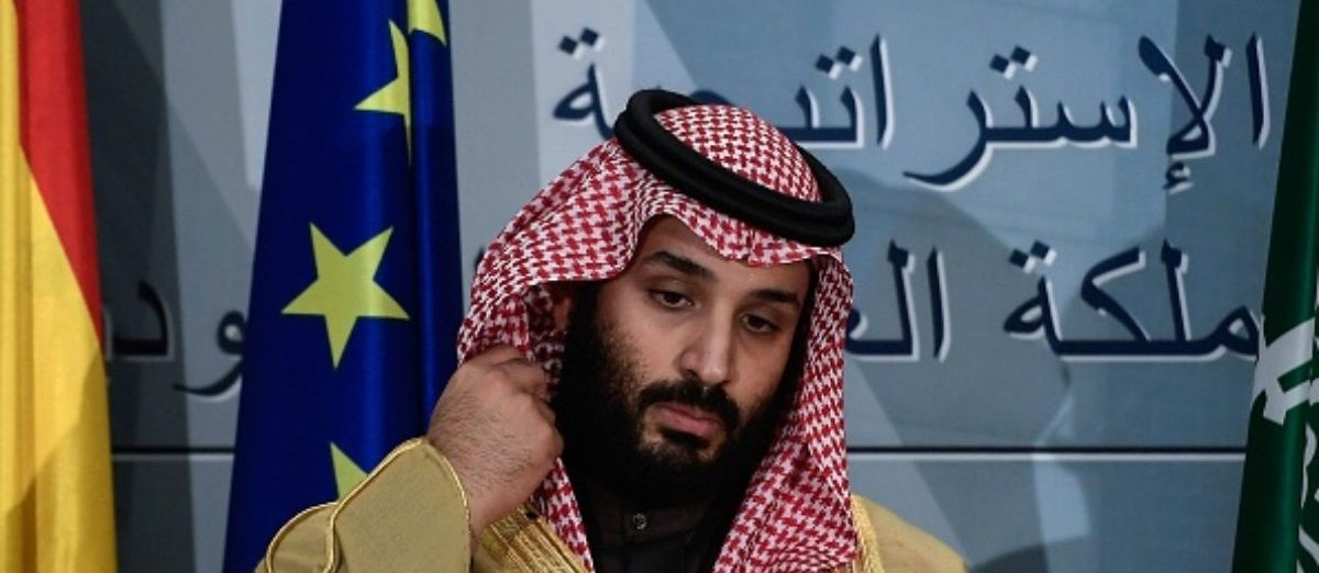 Saudi Arabia's crown prince Mohammed bin Salman looks on at La Moncloa palace in Madrid on April 12, 2018. Prince Mohammed arrived in Spain late on April 11, 2018 hot on the heels of a three-day official visit to France and after a tour lasting several weeks of Egypt, the United States and Britain that saw the self-styled moderniser sign multimillion-dollar deals. Madrid is the last stop of his global diplomatic charm offensive in a bid to project a new liberal image of his conservative kingdom.