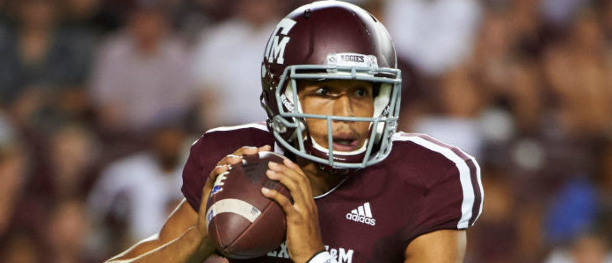 COLLEGE STATION, TX - AUGUST 30: Kellen Mond #11 of the Texas A&M Aggies drops back to pass against the Northwestern State Demons during the first half of a football game at Kyle Field on August 30, 2018 in College Station, Texas. (Photo by Cooper Neill/Getty Images)
