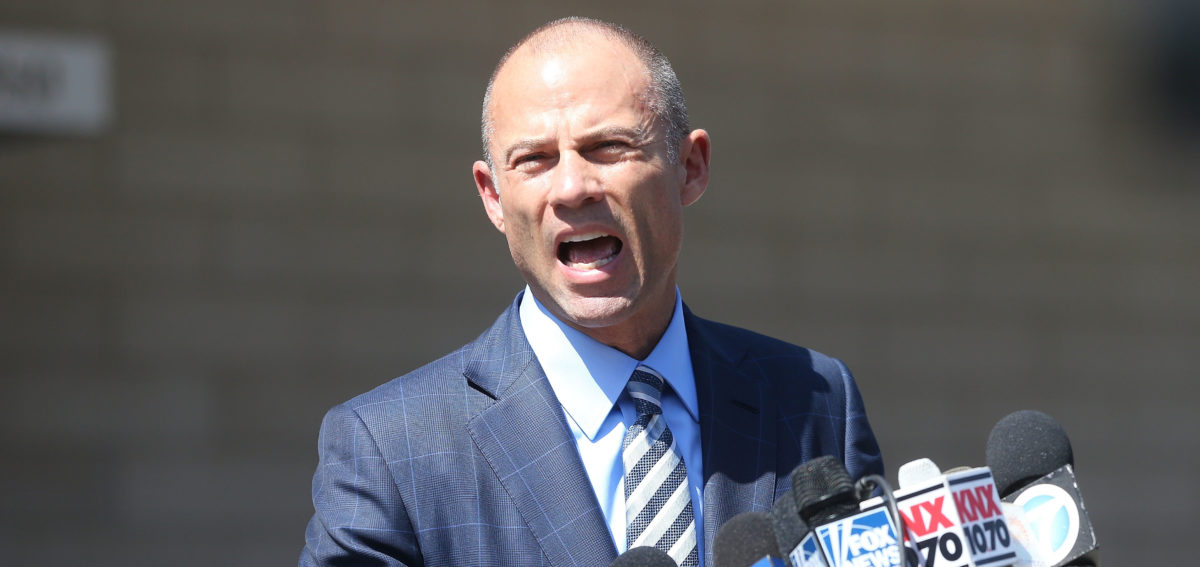 LOS ANGELES, CA - APRIL 20: Michael Avenatti, attorney for Stephanie Clifford, also known as adult film actress Stormy Daniels, speaks to reporters after leaving the U.S. District Court for the Central District of California on April 20, 2018 in Los Angeles, California. Avenatti attended a hearing about Clifford's lawsuit against President Donald J. Trump. (Photo by Mario Tama/Getty Images)
