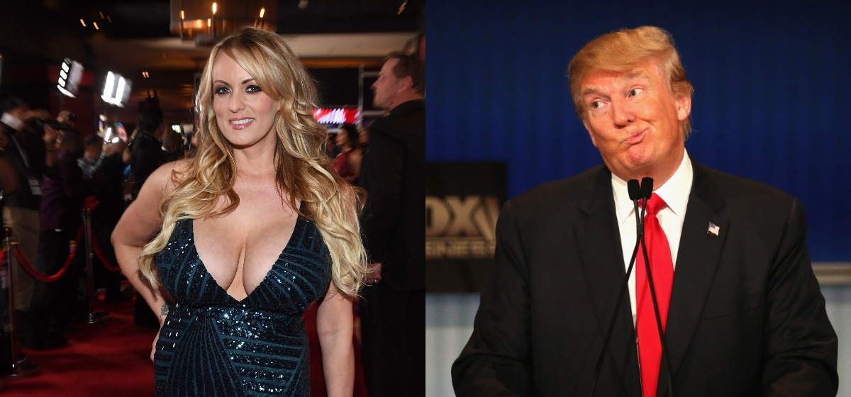 LEFT: Adult film actress/director Stormy Daniels attends the 2018 Adult Video News Awards at the Hard Rock Hotel & Casino on January 27, 2018 in Las Vegas. (Photo by Ethan Miller/Getty Images) RIGHT: Presidential candidate Donald Trump gestures after Carly Fiorina says she met with Russian President Putin at a one on one meeting, during the Republican Presidential Debate sponsored by Fox Business and the Wall Street Journal at the Milwaukee Theatre November 10, 2015 in Milwaukee, Wisconsin. (Photo by Scott Olson/Getty Images)