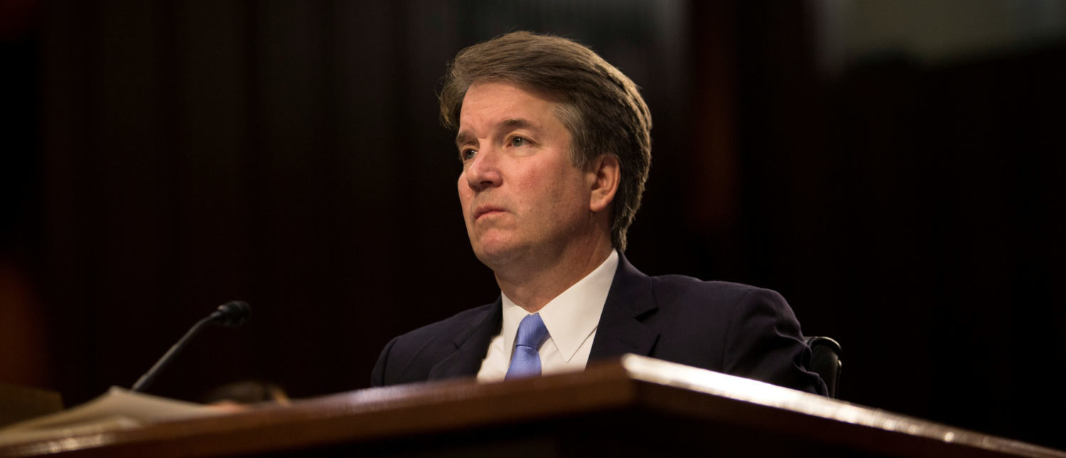 FILE PHOTO: Supreme Court nominee Brett Kavanaugh testifies during the third day of his confirmation hearing before the Senate Judiciary Committee on Capitol Hill in Washington, U.S., September 6, 2018. REUTERS/Alex Wroblewski