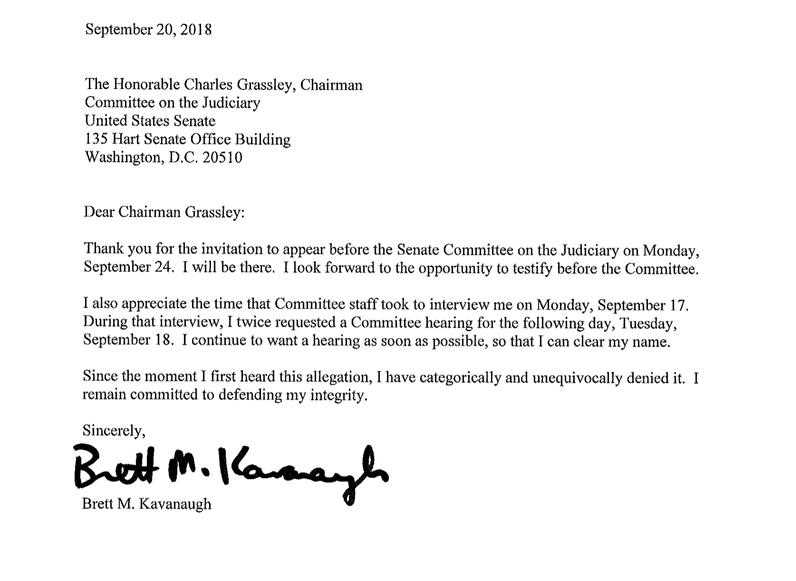 Brett Kavanaugh's Sept. 20 letter to the Senate Judiciary Committee (Screenshot)
