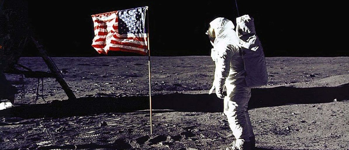 """This 20 July 1969 file photo released by NASA shows astronaut Edwin E. """"Buzz"""" Aldrin, Jr. saluting the US flag on the surface of the Moon during the Apollo 11 lunar mission. (Photo: NASA/AFP/Getty Images)"""