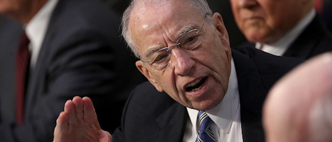 WASHINGTON, DC - SEPTEMBER 05: Committee chairman Sen. Chuck Grassley (R-IA) speaks to Sen. Patrick Leahy (D-VT) while Leahy questions Supreme Court nominee Judge Brett Kavanaugh during the second day of Kavanaugh's Supreme Court confirmation hearing on Capitol Hill September 5, 2018 in Washington, DC. Kavanaugh was nominated by President Donald Trump to fill the vacancy on the court left by retiring Associate Justice Anthony Kennedy. (Photo by Win McNamee/Getty Images)