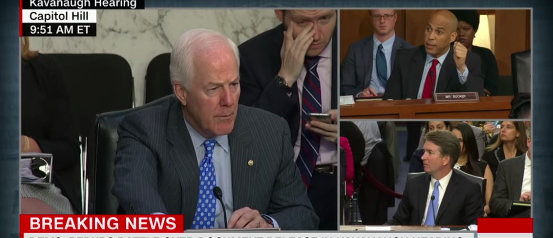 "Sen. John Cornyn (R-TX) warned Sen. Cory Booker (D-NJ) and other democrats that there could be ""consequences"" for releasing emails related to Supreme Court nominee Brett Kavanaugh that were marked ""committee confidential."" [Youtube/Screenshot]"