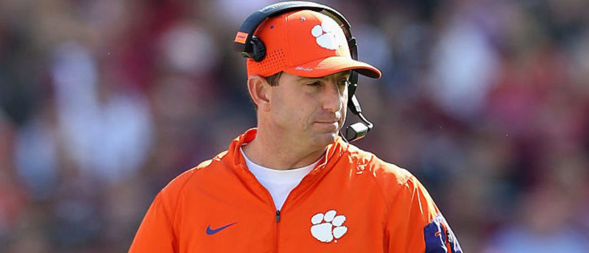 COLUMBIA, SC - NOVEMBER 28: Head coach Dabo Swinney of the Clemson Tigers watches on during their game against the South Carolina Gamecocks at Williams-Brice Stadium on November 28, 2015 in Columbia, South Carolina. (Photo by Streeter Lecka/Getty Images)