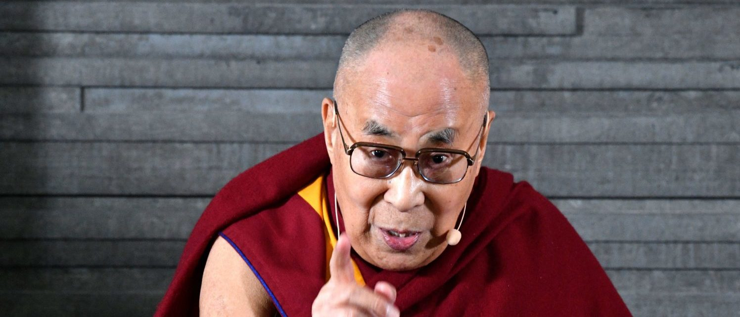 """Tibetan spiritual leader the Dalai Lama is pictured at a press meeting in Malmo, Sweden on September 12, 2018. - The Dalai Lama visits Sweden to hold a lecture on the invitation by the NGO """"Individuell Manniskohjalp"""", IM. ( JOHAN NILSSON/AFP/Getty Images)"""