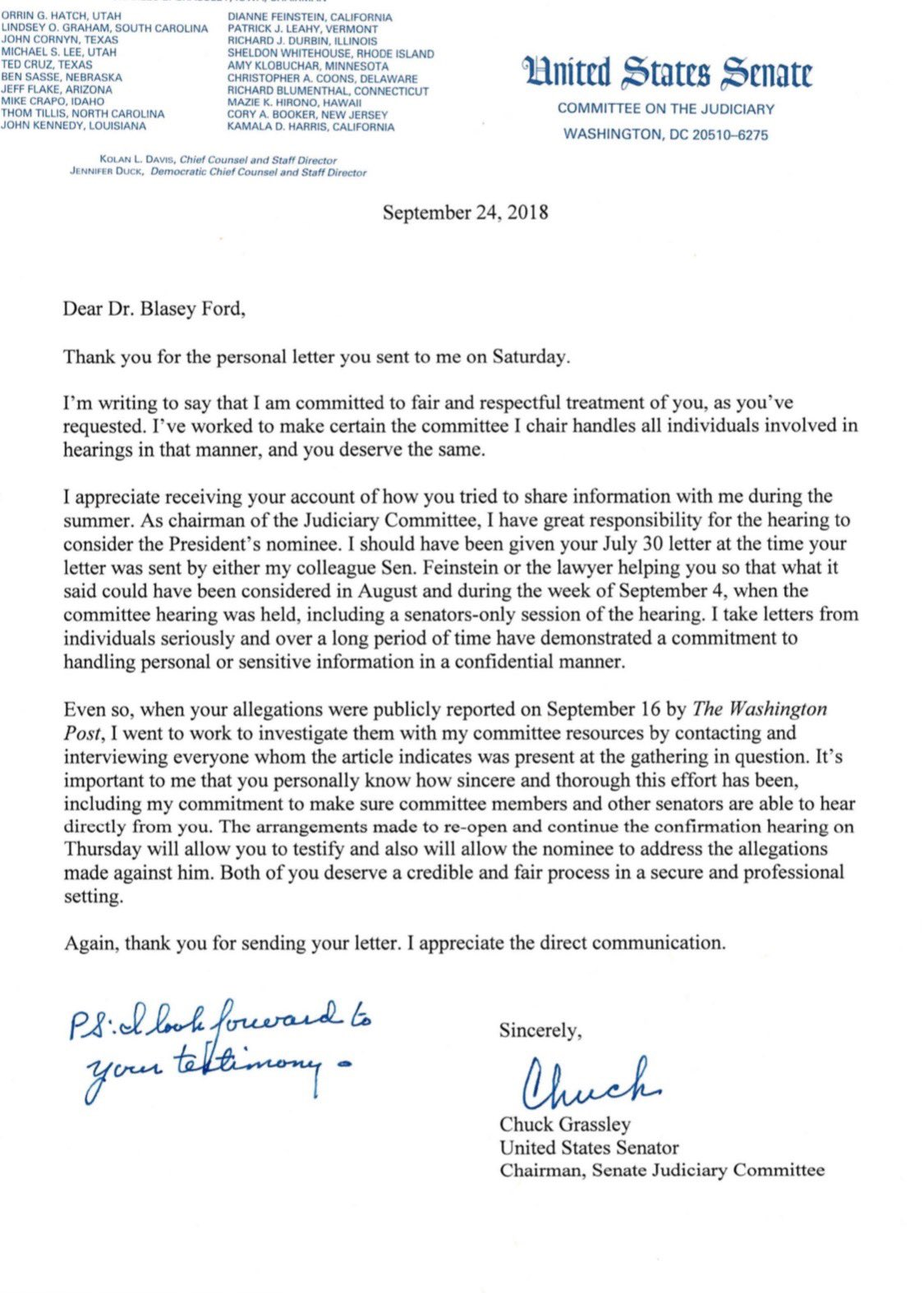 Grassley Promises 'Fair And Respectful Treatment' In Letter To