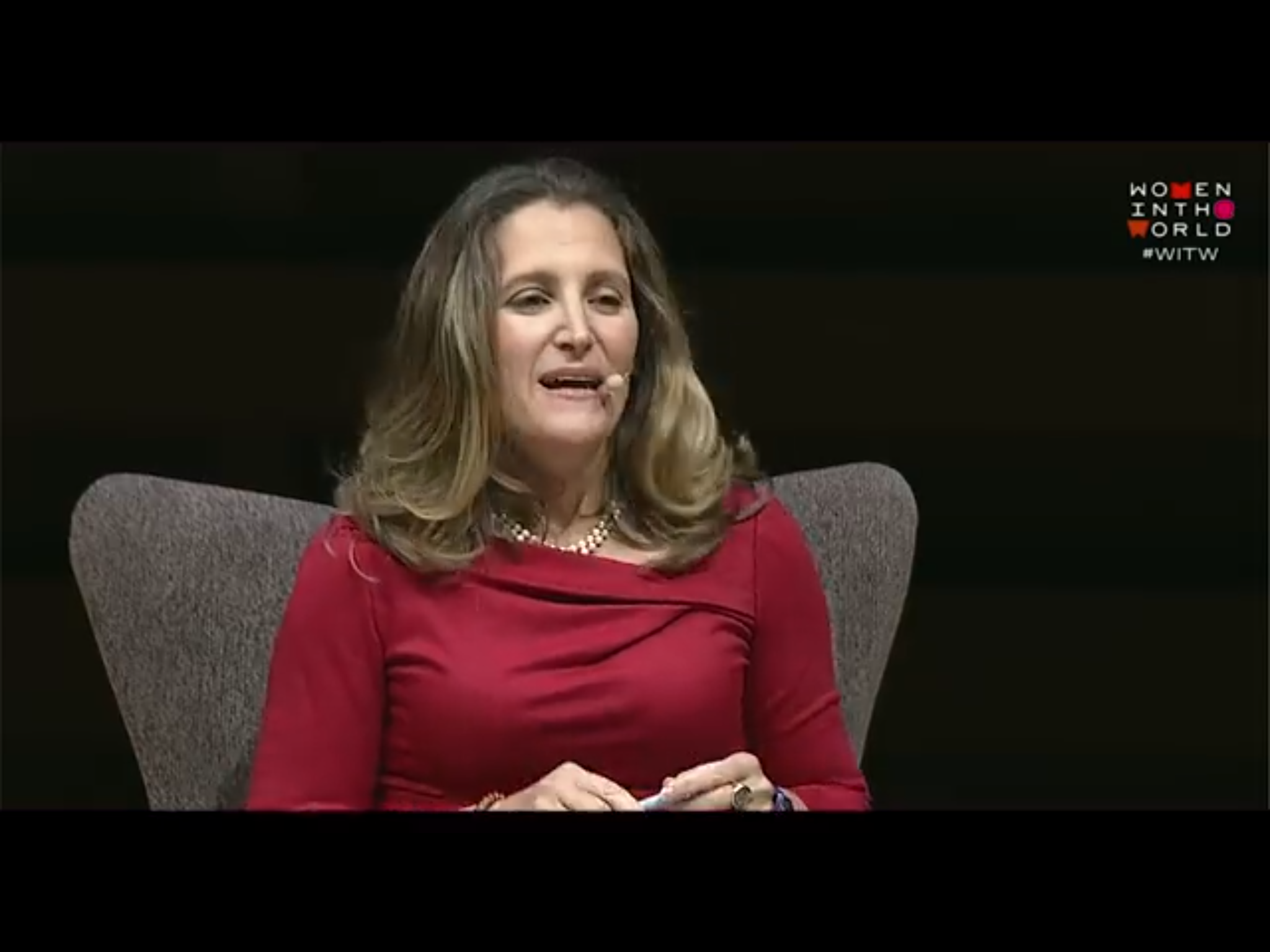"Canadian Foreign Affairs Minister Chrystia Freeland at a ""Women In the World"" forum in Toronto, Sept. 10, 2018. YouTube screen shot."